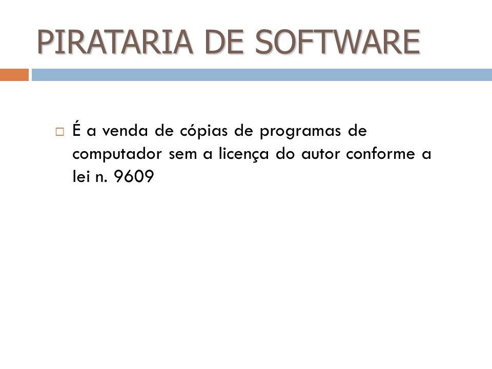 PIRATARIA DE SOFTWARE É a venda de cópias de programas de computador sem a licença do autor conforme a lei n. 9609