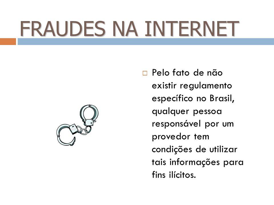 FRAUDES NA INTERNET Pelo fato de não existir regulamento específico no Brasil, qualquer pessoa responsável por um provedor tem condições de utilizar t