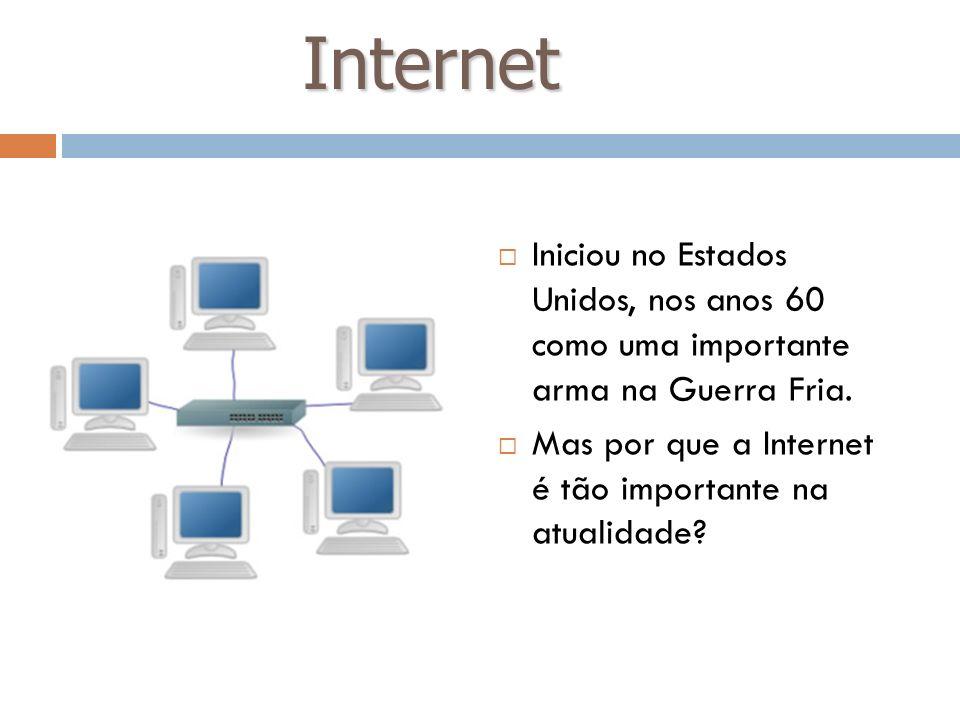 Internet Iniciou no Estados Unidos, nos anos 60 como uma importante arma na Guerra Fria. Mas por que a Internet é tão importante na atualidade?