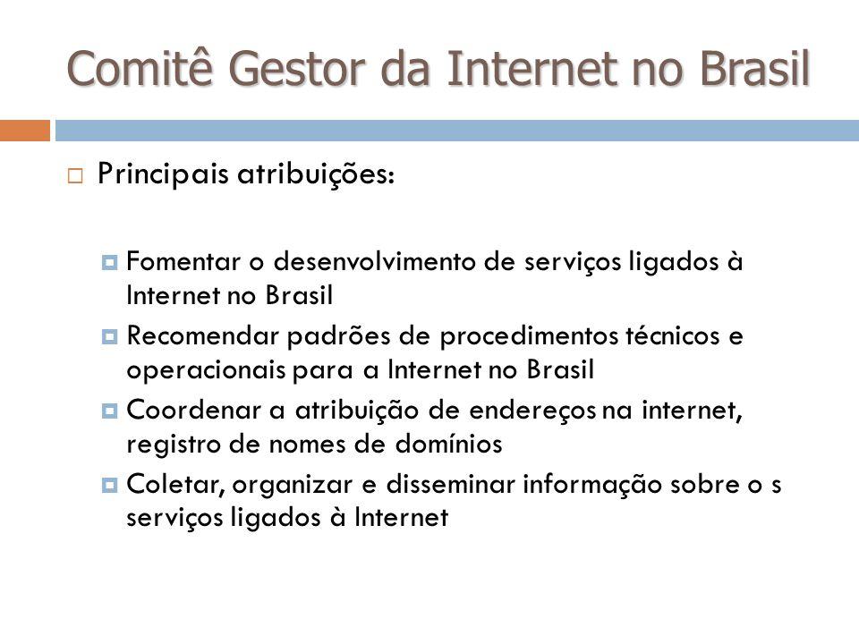Comitê Gestor da Internet no Brasil Principais atribuições: Fomentar o desenvolvimento de serviços ligados à Internet no Brasil Recomendar padrões de
