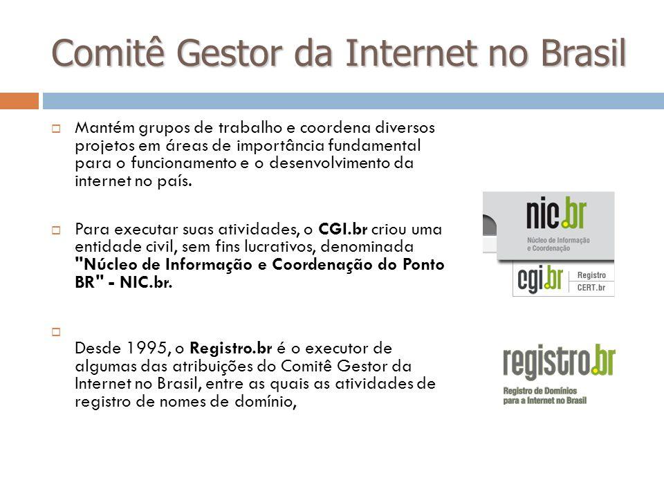 Comitê Gestor da Internet no Brasil Mantém grupos de trabalho e coordena diversos projetos em áreas de importância fundamental para o funcionamento e
