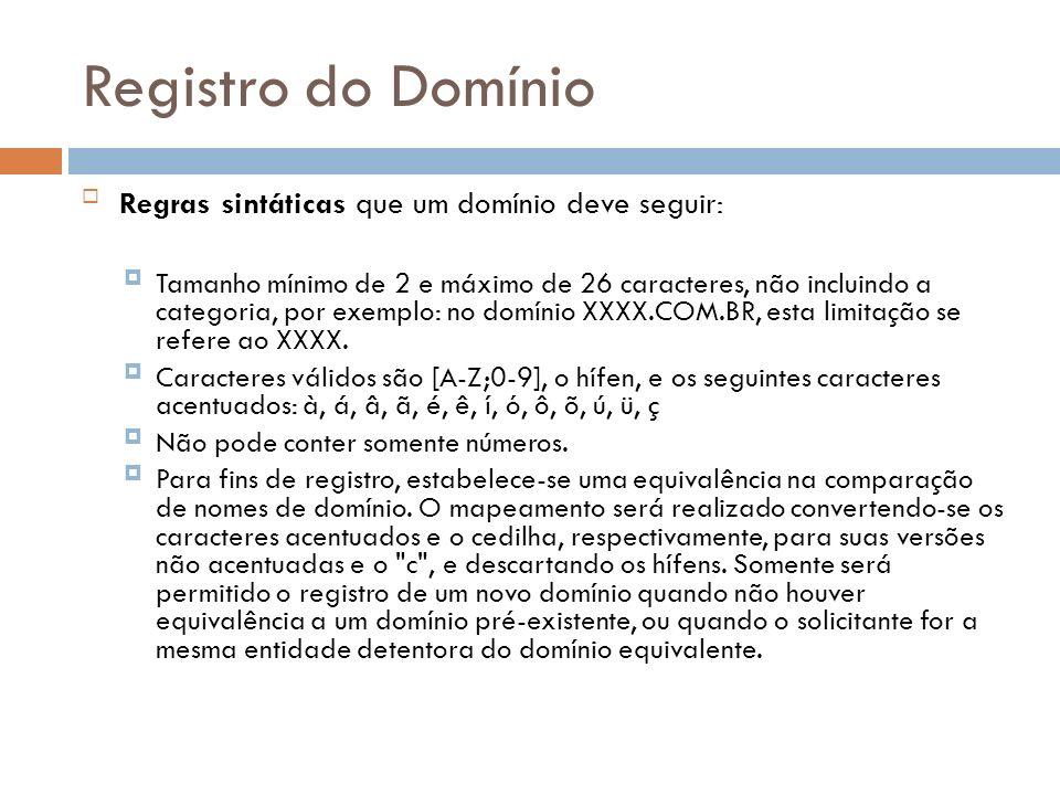 Registro do Domínio Regras sintáticas que um domínio deve seguir: Tamanho mínimo de 2 e máximo de 26 caracteres, não incluindo a categoria, por exempl
