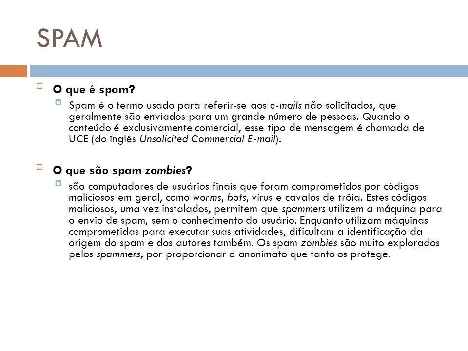 SPAM O que é spam? Spam é o termo usado para referir-se aos e-mails não solicitados, que geralmente são enviados para um grande número de pessoas. Qua