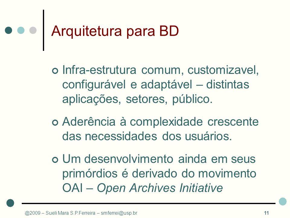Arquitetura para BD Infra-estrutura comum, customizavel, configurável e adaptável – distintas aplicações, setores, público. Aderência à complexidade c
