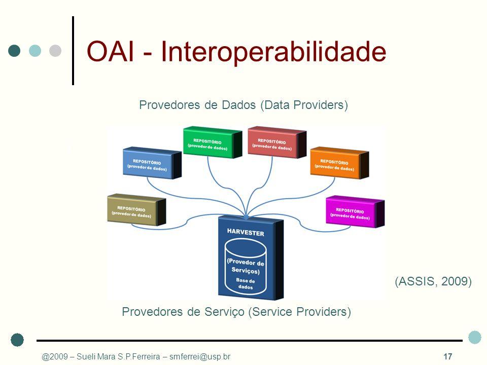 @2009 – Sueli Mara S.P.Ferreira – smferrei@usp.br17 OAI - Interoperabilidade Provedores de Dados (Data Providers) 1 2 3 4 5 N... Provedores de Serviço