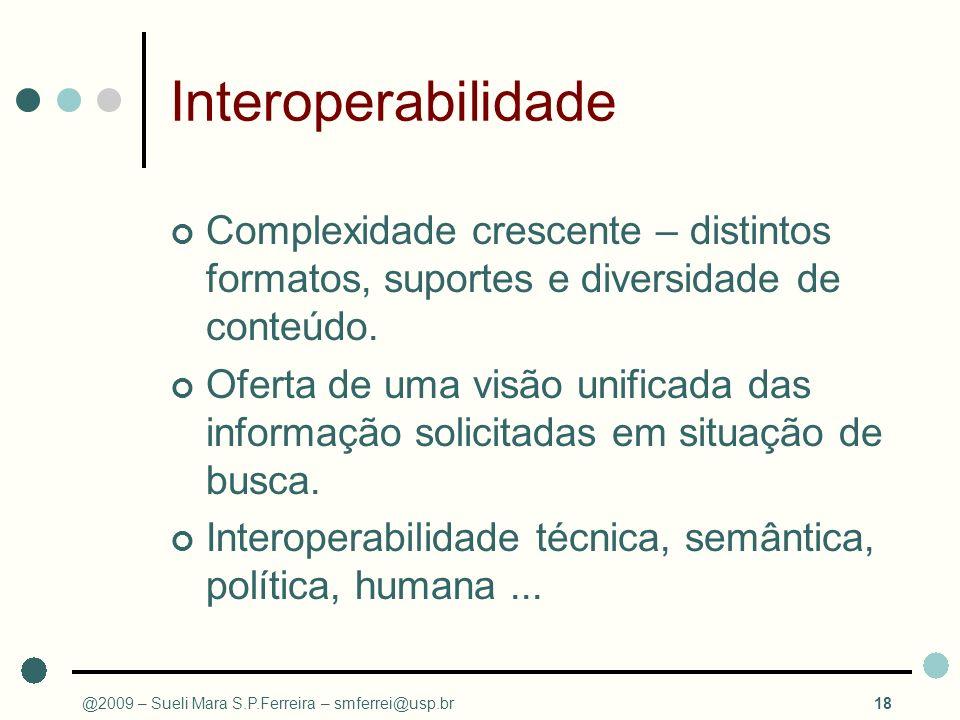 Interoperabilidade Complexidade crescente – distintos formatos, suportes e diversidade de conteúdo. Oferta de uma visão unificada das informação solic