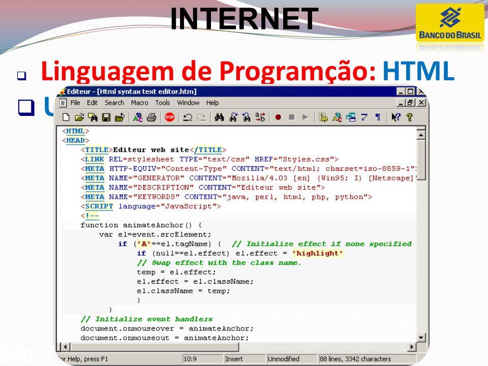 Linguagem de Programção: HTML Usada para desenvolver sites. pág. 27 INTERNET
