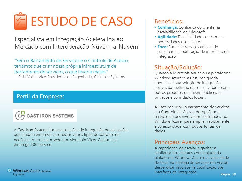 Página 19 ESTUDO DE CASO Perfil da Empresa: Benefícios: Confiança: Confiança do cliente na escalabilidade da Microsoft Agilidade: Escalabilidade confo