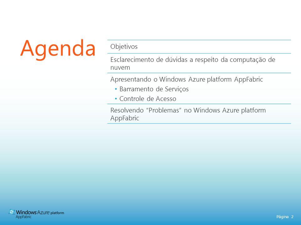 Página 2 Agenda Objetivos Esclarecimento de dúvidas a respeito da computação de nuvem Apresentando o Windows Azure platform AppFabric Barramento de Serviços Controle de Acesso Resolvendo Problemas no Windows Azure platform AppFabric