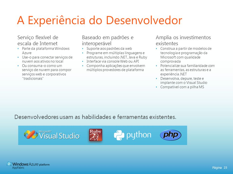 Página 23 A Experiência do Desenvolvedor Desenvolvedores usam as habilidades e ferramentas existentes. Serviço flexível de escala de Internet Parte da