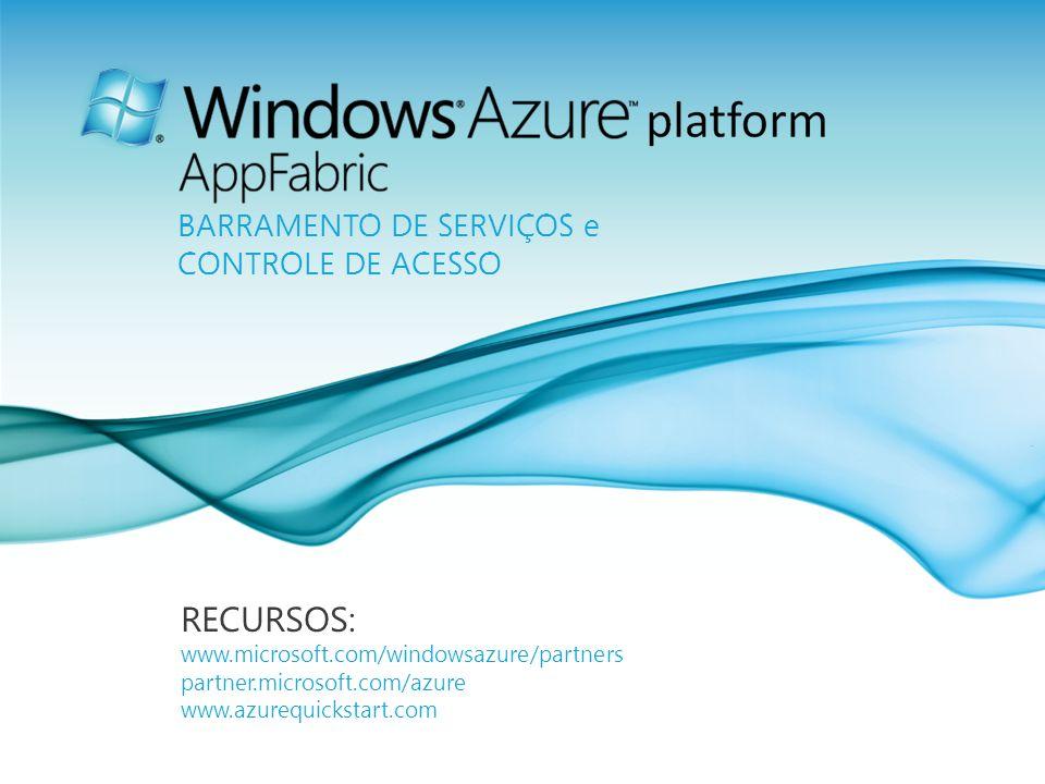 Página 25 RECURSOS: www.microsoft.com/windowsazure/partners partner.microsoft.com/azure www.azurequickstart.com BARRAMENTO DE SERVIÇOS e CONTROLE DE A