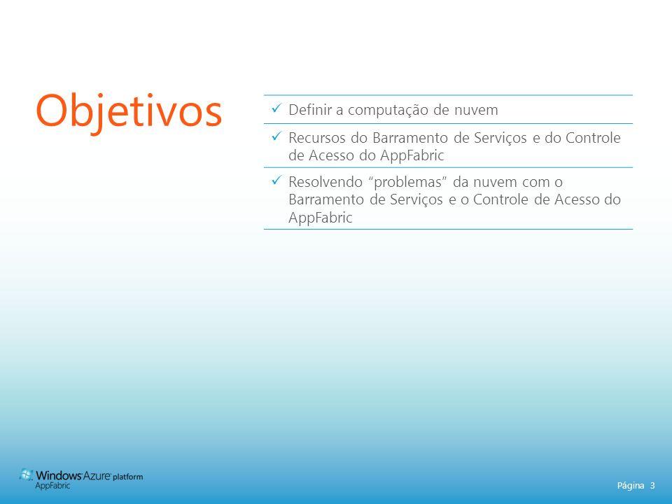 Página 14 Controle de Acesso do AppFabric Aplicações ou Usuários Simplifique e automatize solicitações de esquema complexo de autorização.