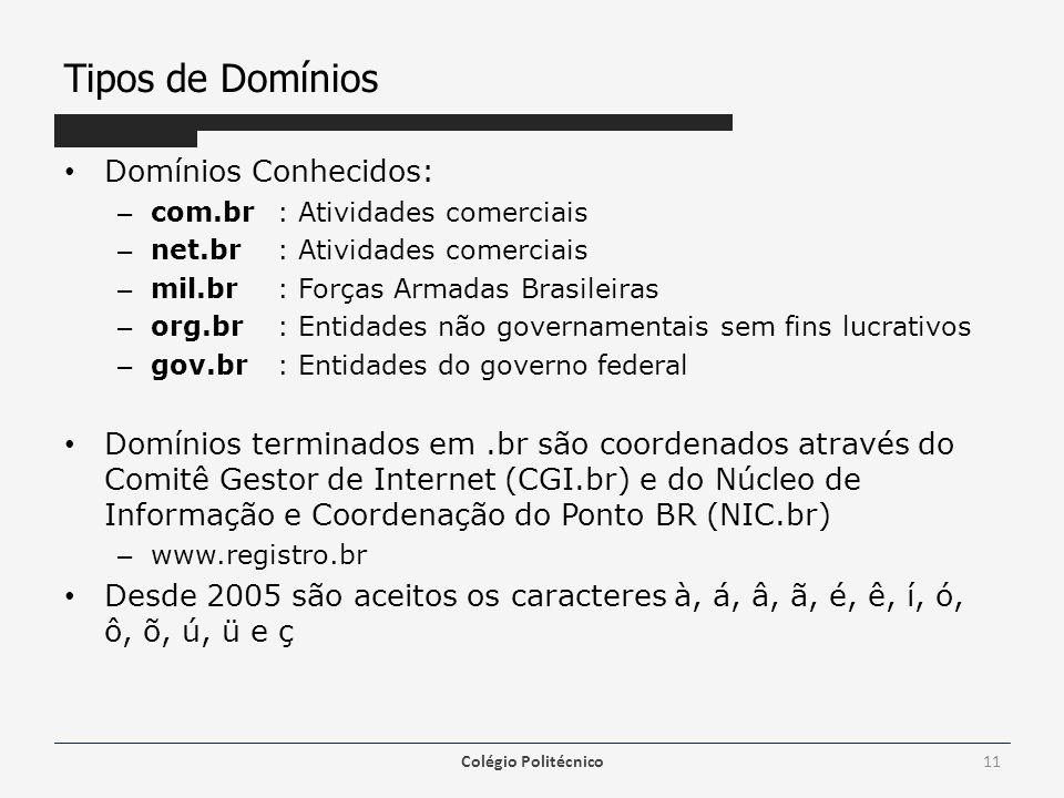 Tipos de Domínios Domínios Conhecidos: – com.br: Atividades comerciais – net.br : Atividades comerciais – mil.br : Forças Armadas Brasileiras – org.br