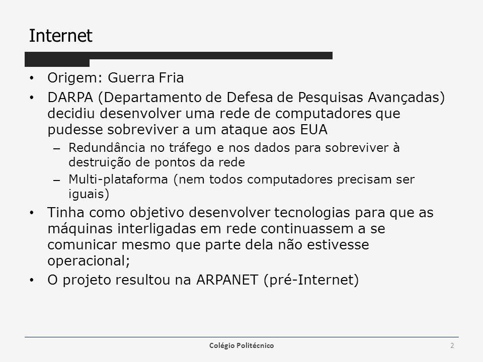 Internet Origem: Guerra Fria DARPA (Departamento de Defesa de Pesquisas Avançadas) decidiu desenvolver uma rede de computadores que pudesse sobreviver