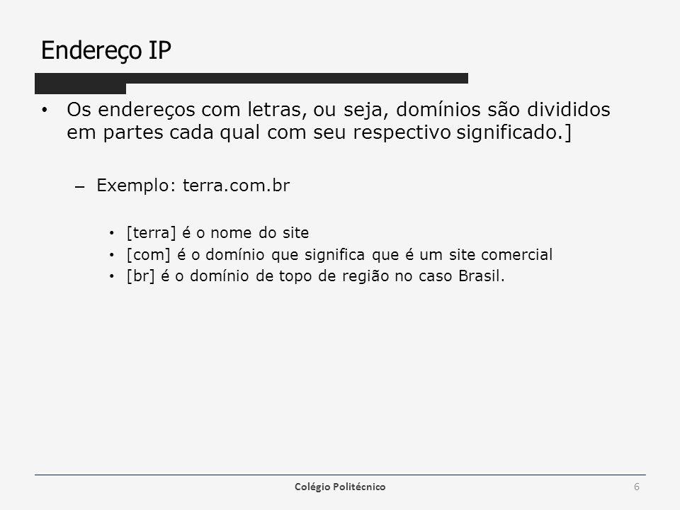 Endereço IP Os endereços com letras, ou seja, domínios são divididos em partes cada qual com seu respectivo significado.] – Exemplo: terra.com.br [ter