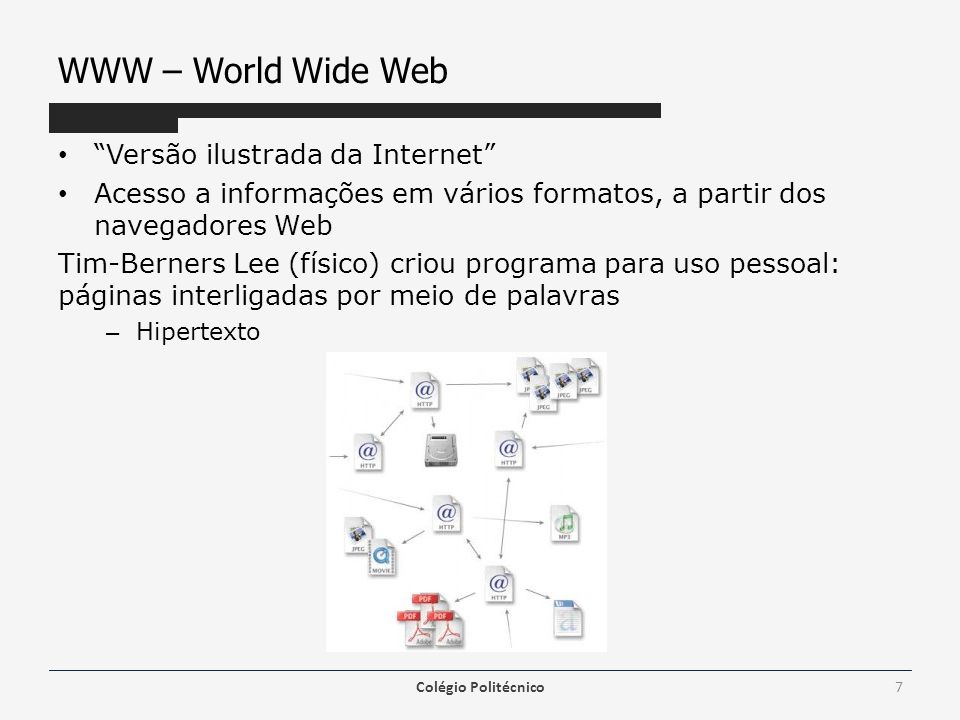 WWW – World Wide Web Versão ilustrada da Internet Acesso a informações em vários formatos, a partir dos navegadores Web Tim-Berners Lee (físico) criou
