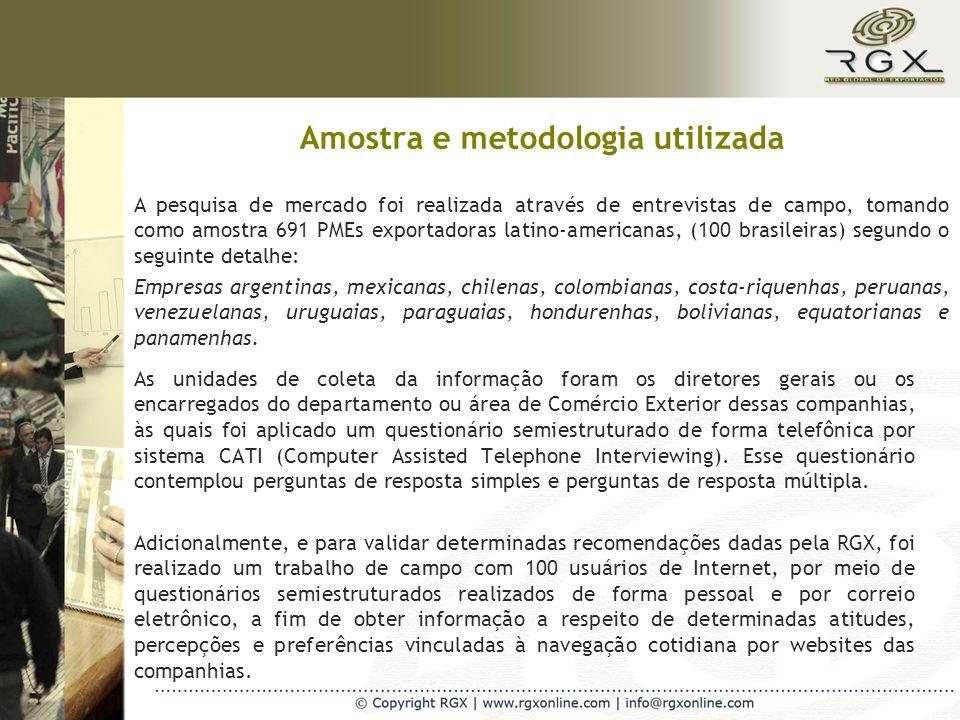 Amostra e metodologia utilizada As unidades de coleta da informação foram os diretores gerais ou os encarregados do departamento ou área de Comércio Exterior dessas companhias, às quais foi aplicado um questionário semiestruturado de forma telefônica por sistema CATI (Computer Assisted Telephone Interviewing).