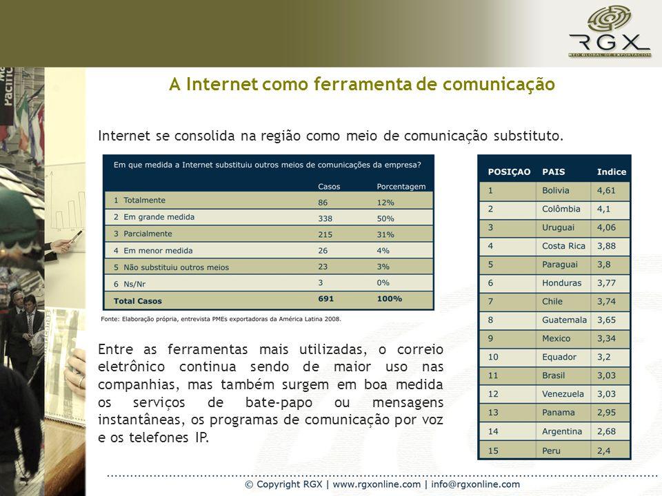 A Internet como ferramenta de comunicação Internet se consolida na região como meio de comunicação substituto.