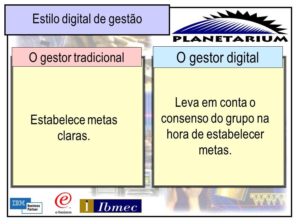O gestor digital Estilo digital de gestão O gestor tradicional Responde a todos os e-mails no mesmo dia em que os recebe. Responde a todos os memorand