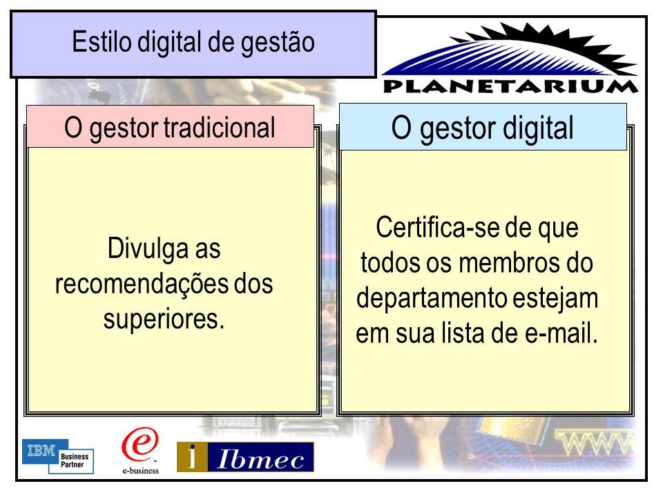 O gestor digital Estilo digital de gestão O gestor tradicional Leva em conta o consenso do grupo na hora de estabelecer metas. Estabelece metas claras