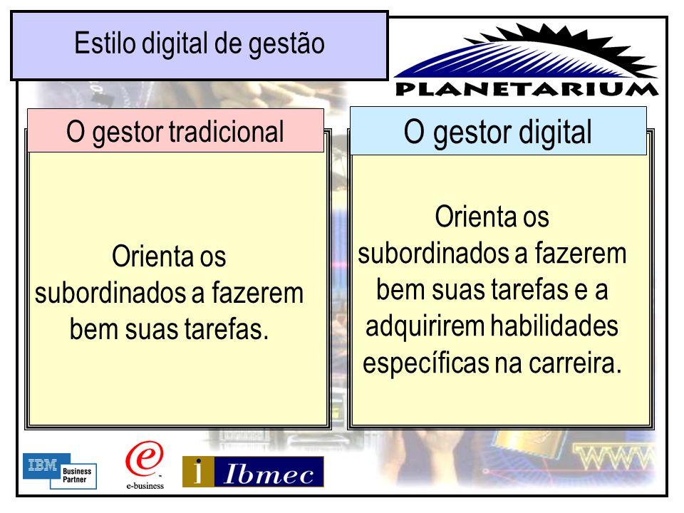 O gestor digital Estilo digital de gestão O gestor tradicional Certifica-se de que todos os membros do departamento estejam em sua lista de e-mail. Di