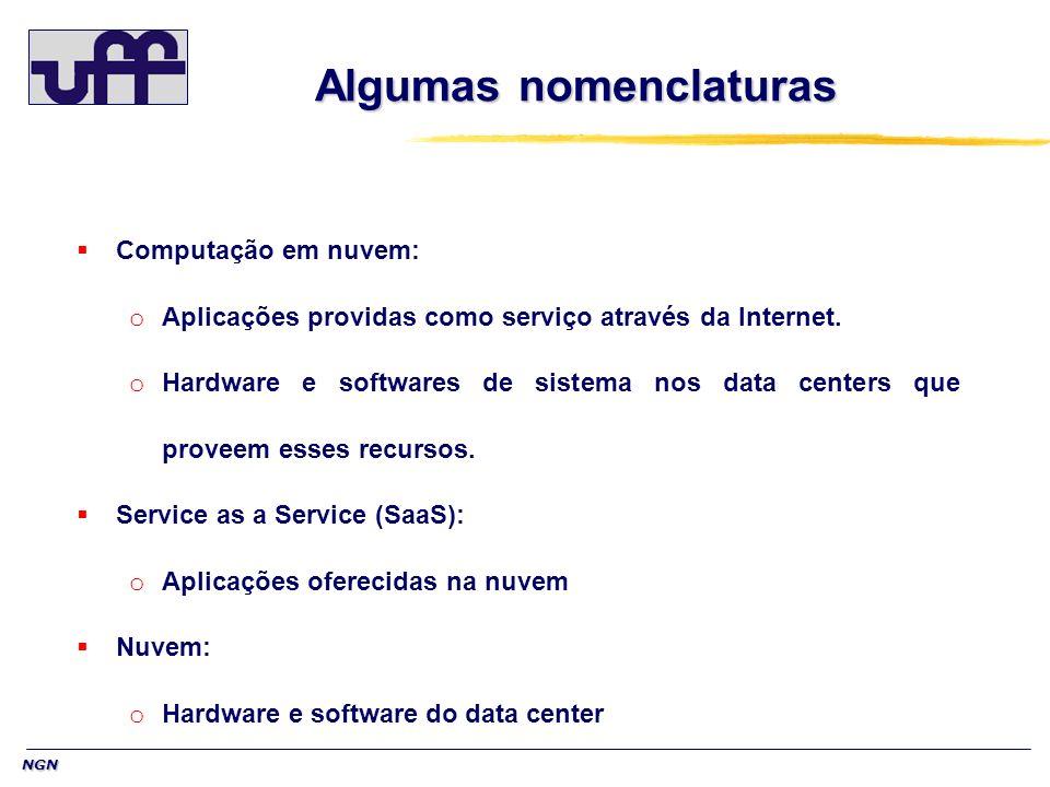 NGN Algumas nomenclaturas Computação em nuvem: o Aplicações providas como serviço através da Internet. o Hardware e softwares de sistema nos data cent