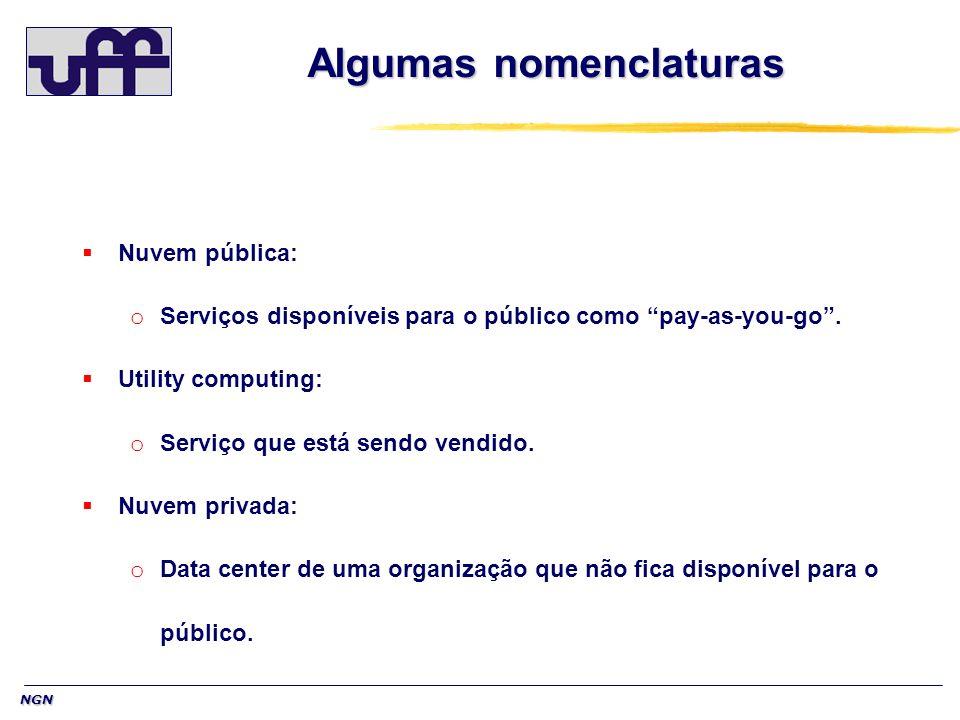 NGN Algumas nomenclaturas Nuvem pública: o Serviços disponíveis para o público como pay-as-you-go. Utility computing: o Serviço que está sendo vendido