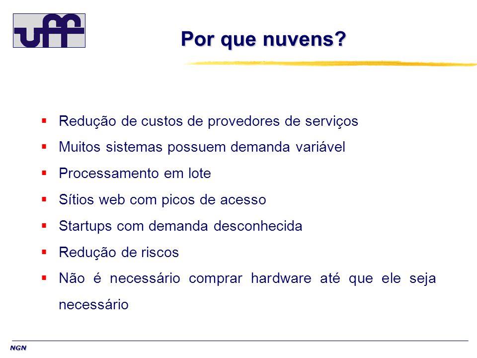 NGN Por que nuvens? Redução de custos de provedores de serviços Muitos sistemas possuem demanda variável Processamento em lote Sítios web com picos de