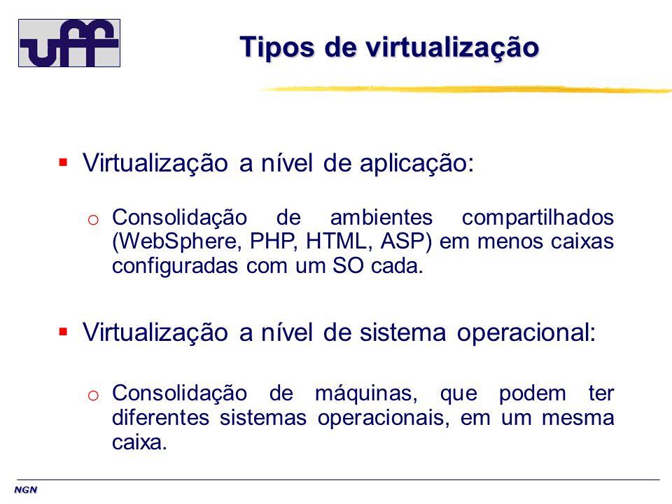NGN Tipos de virtualização Virtualização a nível de aplicação: o Consolidação de ambientes compartilhados (WebSphere, PHP, HTML, ASP) em menos caixas