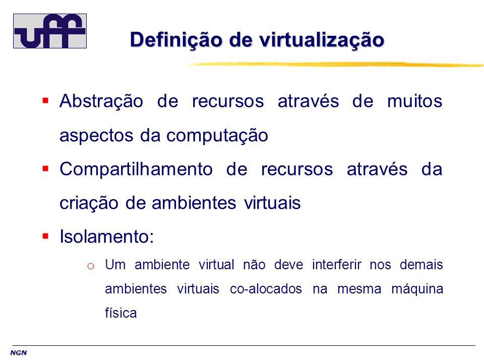 NGN Definição de virtualização Abstração de recursos através de muitos aspectos da computação Compartilhamento de recursos através da criação de ambie