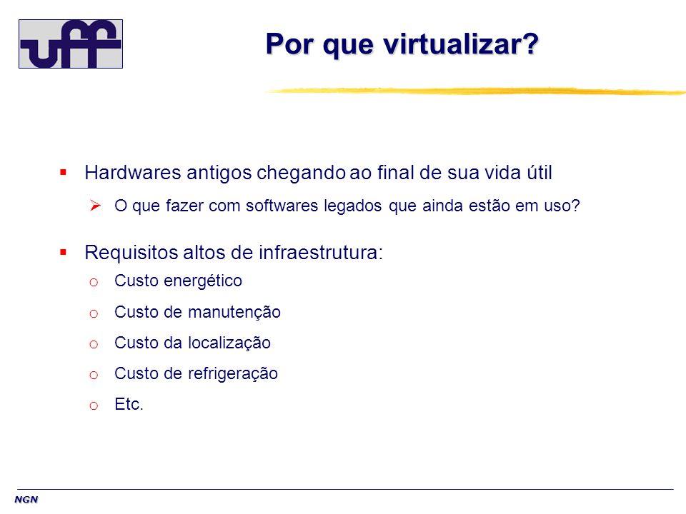 NGN Por que virtualizar? Hardwares antigos chegando ao final de sua vida útil O que fazer com softwares legados que ainda estão em uso? Requisitos alt