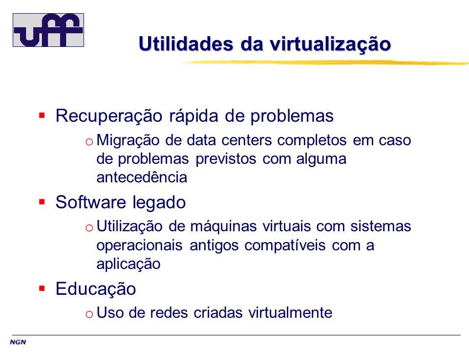 NGN Recuperação rápida de problemas o Migração de data centers completos em caso de problemas previstos com alguma antecedência Software legado o Util