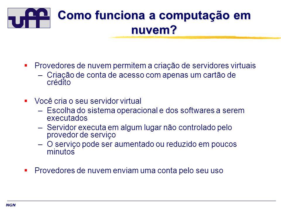 NGN Como funciona a computação em nuvem? Provedores de nuvem permitem a criação de servidores virtuais –Criação de conta de acesso com apenas um cartã