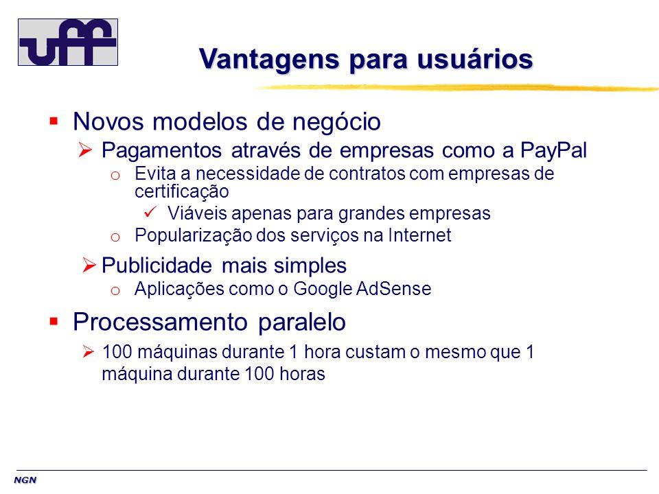 NGN Vantagens para usuários Novos modelos de negócio Pagamentos através de empresas como a PayPal o Evita a necessidade de contratos com empresas de c