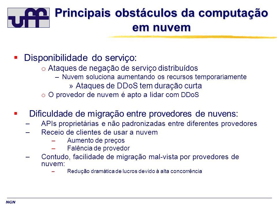 NGN Principais obstáculos da computação em nuvem Disponibilidade do serviço: o Ataques de negação de serviço distribuídos –Nuvem soluciona aumentando