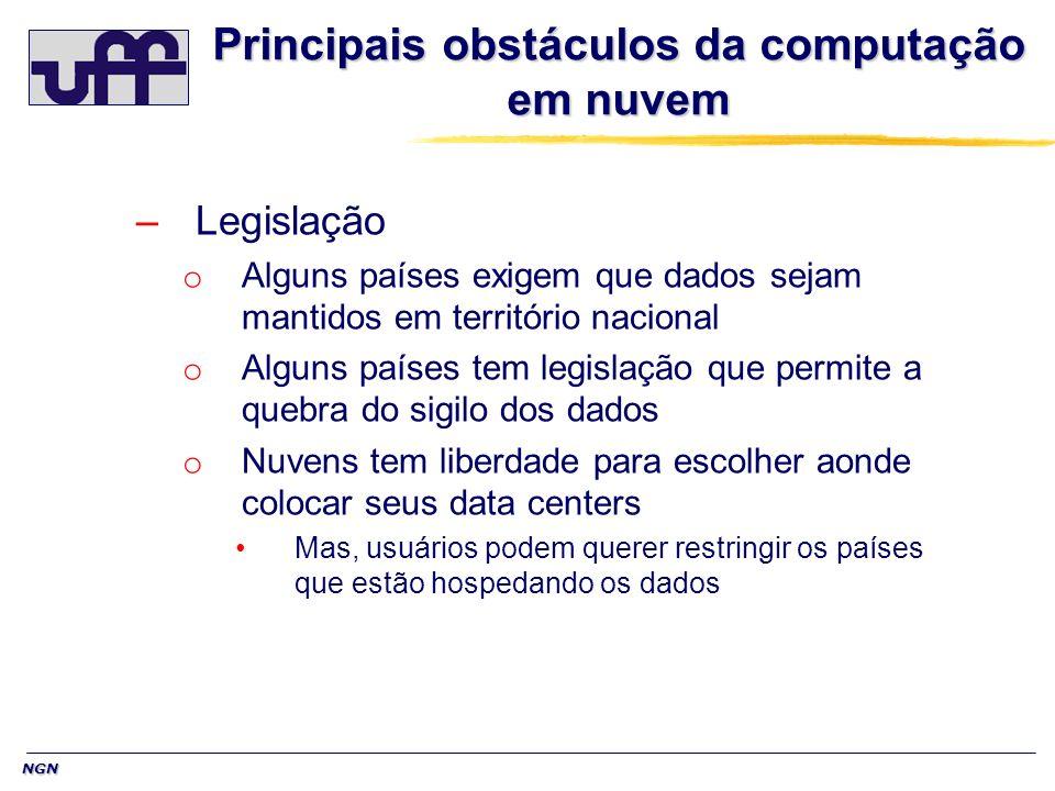 NGN Principais obstáculos da computação em nuvem –Legislação o Alguns países exigem que dados sejam mantidos em território nacional o Alguns países te