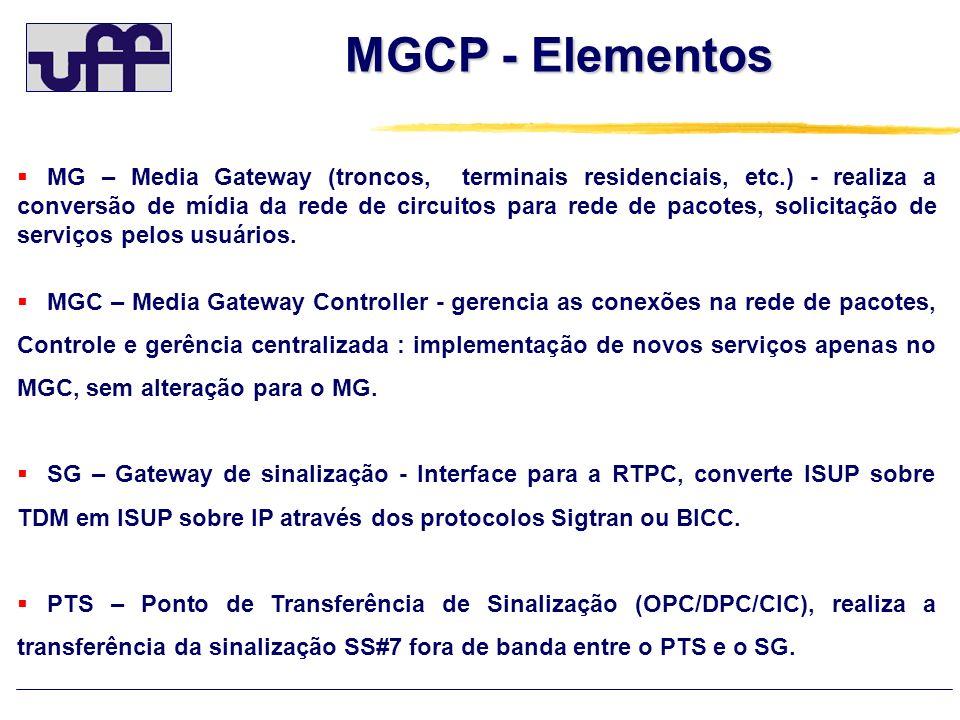 MGCP - Elementos MG – Media Gateway (troncos, terminais residenciais, etc.) - realiza a conversão de mídia da rede de circuitos para rede de pacotes,