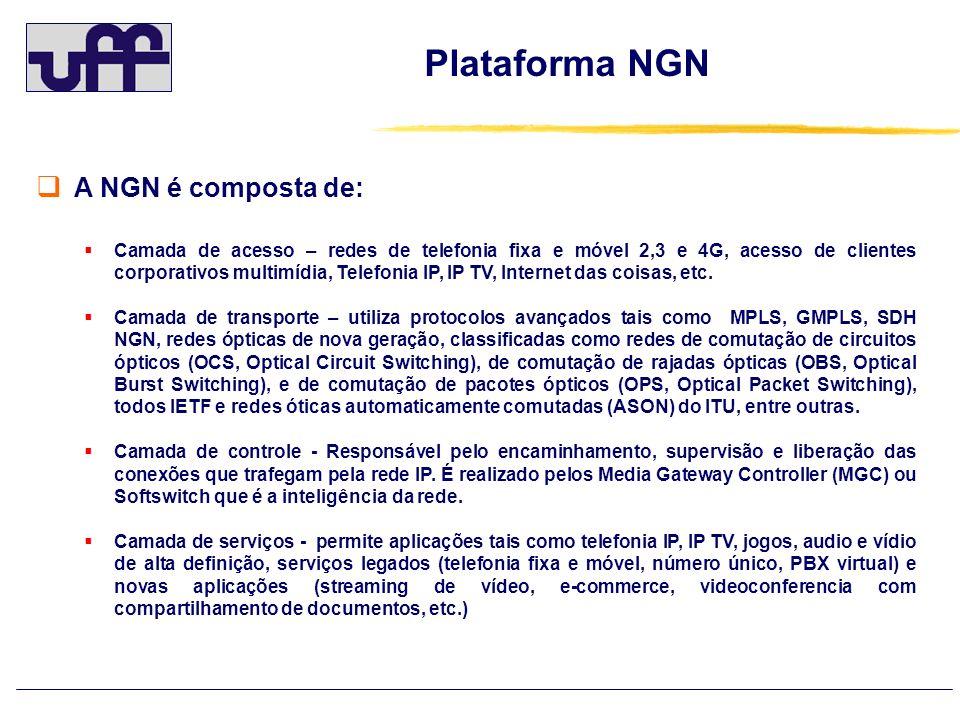 Plataforma NGN A NGN é composta de: Camada de acesso – redes de telefonia fixa e móvel 2,3 e 4G, acesso de clientes corporativos multimídia, Telefonia