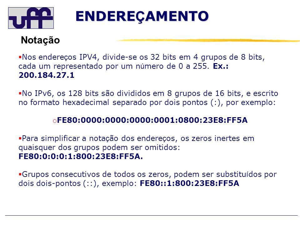 ENDERE Ç AMENTO Notação Nos endere ç os IPV4, divide-se os 32 bits em 4 grupos de 8 bits, cada um representado por um n ú mero de 0 a 255. Ex.: 200.18
