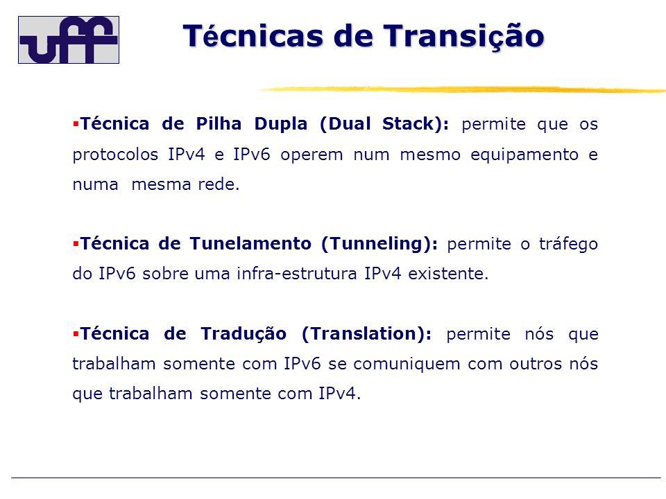 T é cnicas de Transi ç ão Técnica de Pilha Dupla (Dual Stack): permite que os protocolos IPv4 e IPv6 operem num mesmo equipamento e numa mesma rede. T