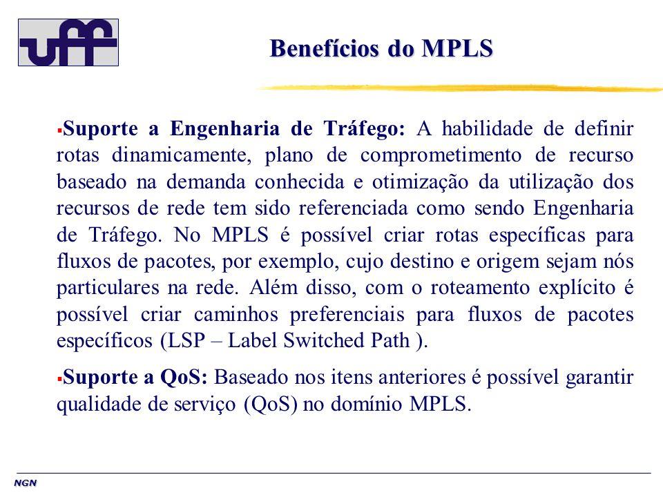 NGN Benefícios do MPLS Suporte a Engenharia de Tráfego: A habilidade de definir rotas dinamicamente, plano de comprometimento de recurso baseado na de
