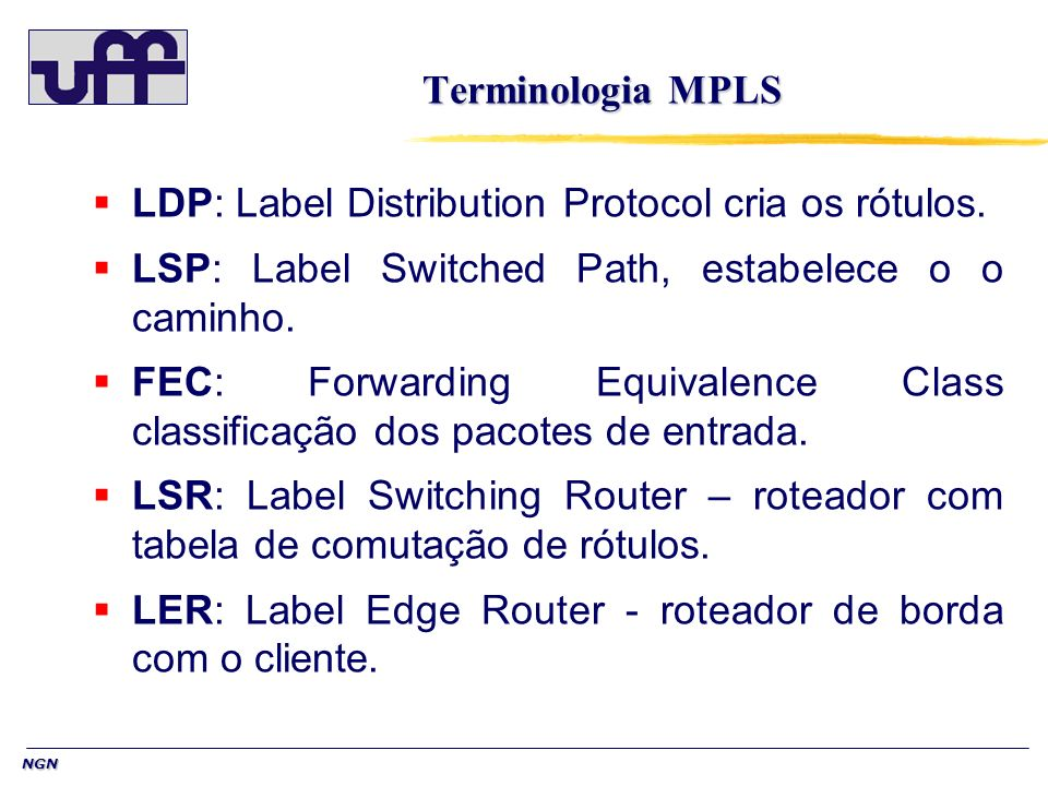 NGN Terminologia MPLS LDP: Label Distribution Protocol cria os rótulos. LSP: Label Switched Path, estabelece o o caminho. FEC: Forwarding Equivalence