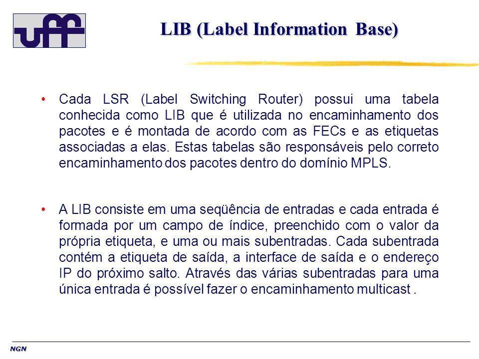 NGN LIB (Label Information Base) Cada LSR (Label Switching Router) possui uma tabela conhecida como LIB que é utilizada no encaminhamento dos pacotes