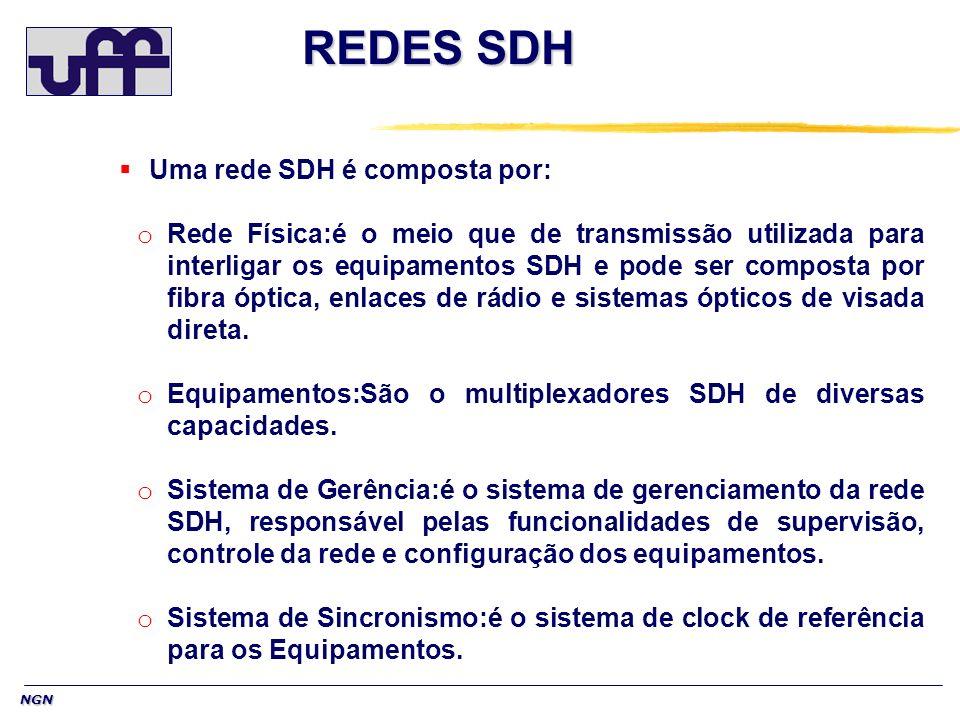 NGN REDES SDH Uma rede SDH é composta por: o Rede Física:é o meio que de transmissão utilizada para interligar os equipamentos SDH e pode ser composta