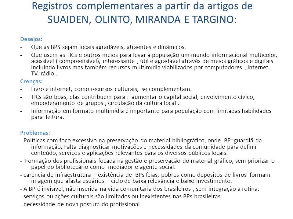 Convite a reflexão e tempestade de ideias: Como a integração de TICs nas BPs e no SNBP pode contribuir para as seguintes questões.