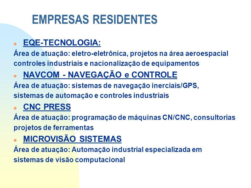 EMPRESAS RESIDENTES n EQE-TECNOLOGIA: Área de atuação: eletro-eletrônica, projetos na área aeroespacial controles industriais e nacionalização de equi