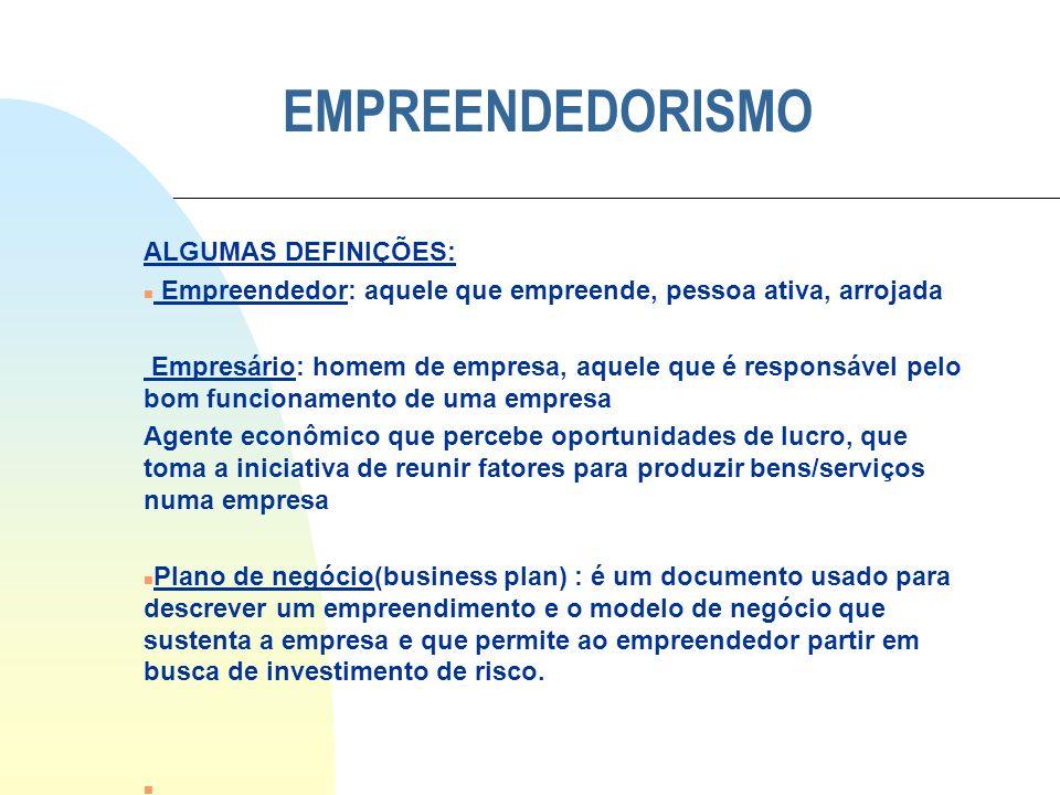 EMPREENDEDORISMO ALGUMAS DEFINIÇÕES: n Empreendedor: aquele que empreende, pessoa ativa, arrojada Empresário: homem de empresa, aquele que é responsáv