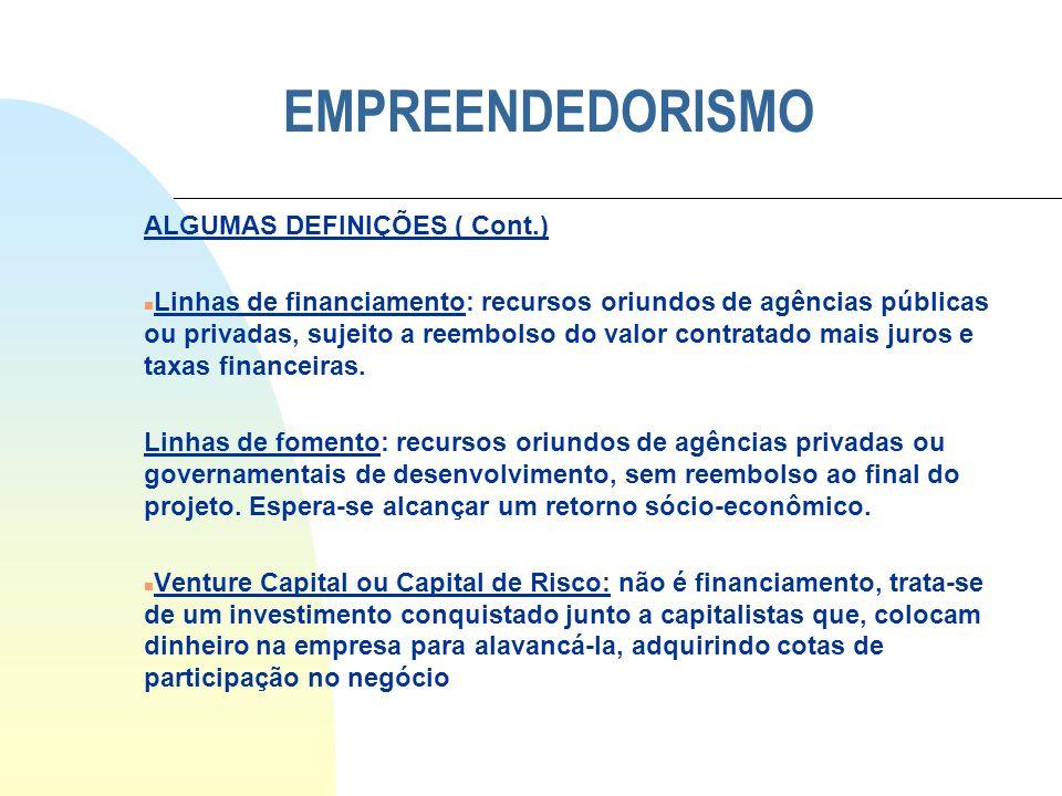 EMPREENDEDORISMO ALGUMAS DEFINIÇÕES ( Cont.) n Linhas de financiamento: recursos oriundos de agências públicas ou privadas, sujeito a reembolso do val