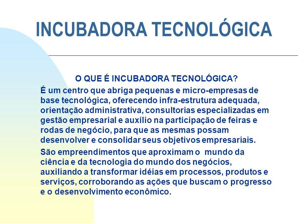 INCUBADORA TECNOLÓGICA O QUE É INCUBADORA TECNOLÓGICA? É um centro que abriga pequenas e micro-empresas de base tecnológica, oferecendo infra-estrutur