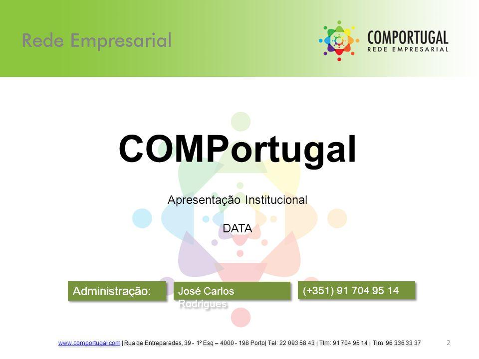 Administração: José Carlos Rodrigues www.comportugal.comwww.comportugal.com | Rua de Entreparedes, 39 - 1º Esq – 4000 - 198 Porto| Tel: 22 093 58 43 | Tlm: 91 704 95 14 | Tlm: 96 336 33 37 www.comportugal.comwww.comportugal.com | Rua de Entreparedes, 39 - 1º Esq – 4000 - 198 Porto| Tel: 22 093 58 43 | Tlm: 91 704 95 14 | Tlm: 96 336 33 37 2 COMPortugal Apresentação Institucional DATA (+351) 91 704 95 14